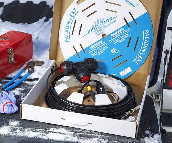 In-Pipe Heating Cable in box on Tailgate in Winter
